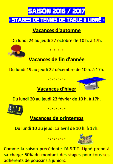 Stages Jeunes 2016-2017